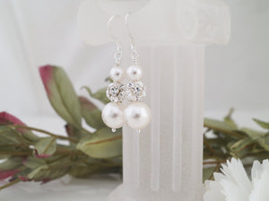 Pearl and Crystal Rhinestone Earrings, Wedding Jewelry - Clairesbridal - 5