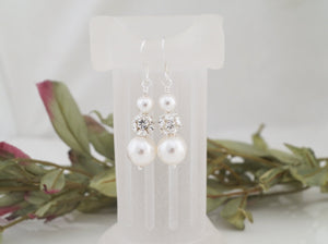 Pearl and Crystal Rhinestone Earrings, Wedding Jewelry - Clairesbridal - 3