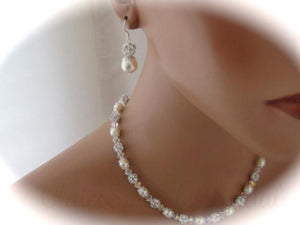 Wedding Jewelry Set Swarovski Pearl and Crystal Necklace and Earrings - Clairesbridal - 5