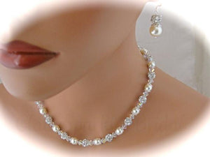 Wedding Jewelry Set Swarovski Pearl and Crystal Necklace and Earrings - Clairesbridal - 1