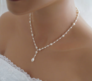 Pearl Drop Necklace, Wedding Jewelry, Swarovski - Clairesbridal - 3