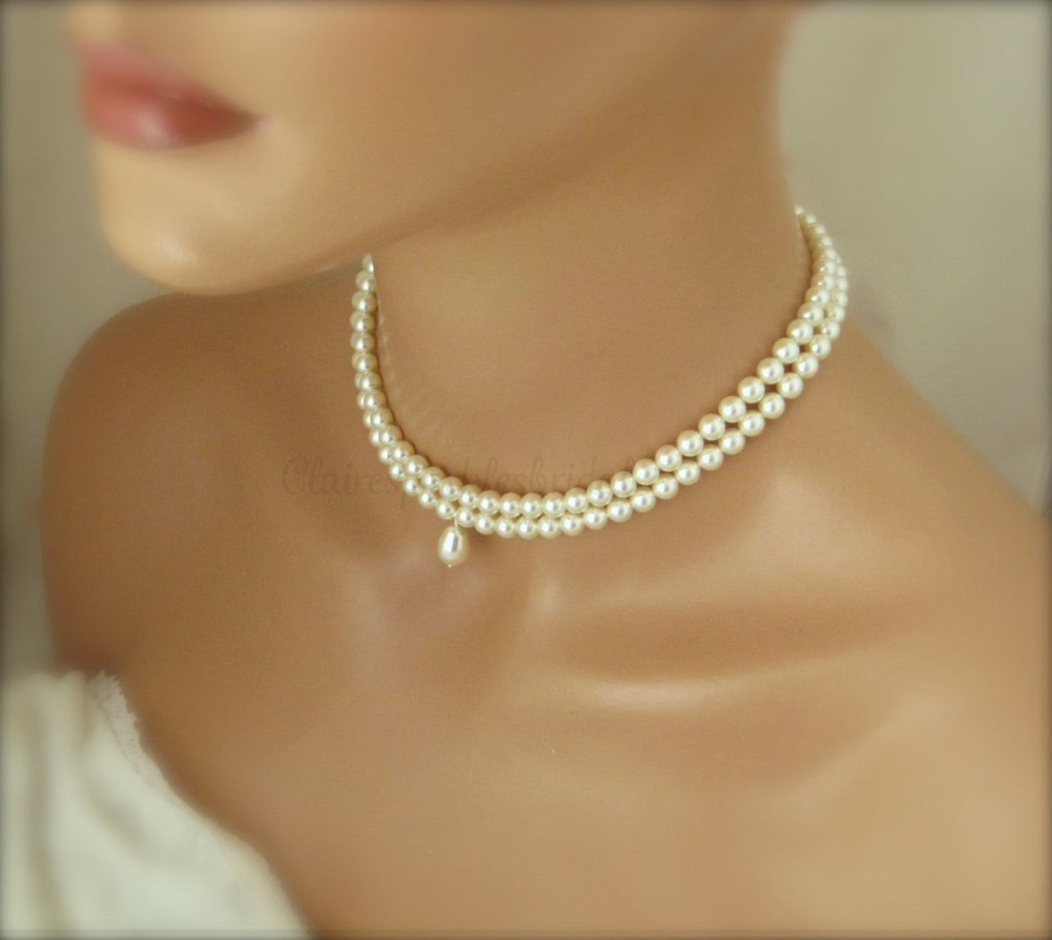 White Pearl Choker Necklace Wedding Jewelry - Clairesbridal - 3