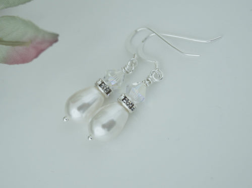 Swarovski Crystal and Pearl Drop Earrings Wedding Jewelry For Bride - Clairesbridal - 1