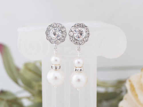 Silver Crystal Drop Earrings Bridal Jewelry Swarovski Pearl - Clairesbridal - 1
