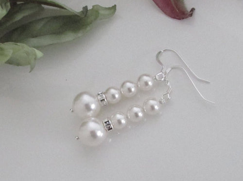 Bridal Crystal Earrings Swarovski Pearl Drop Earrings - Clairesbridal - 1
