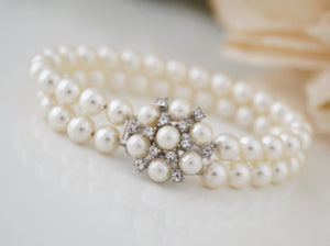 2 Strand Pearl Bracelet Bridal Jewelry for Wedding - Clairesbridal - 4