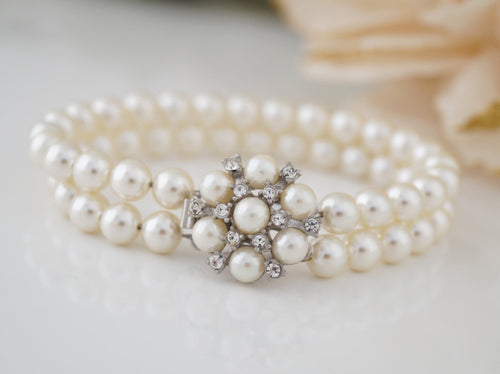 2 Strand Pearl Bracelet Bridal Jewelry for Wedding - Clairesbridal - 1