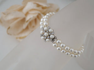 2 Strand Pearl Bracelet Bridal Jewelry for Wedding - Clairesbridal - 2