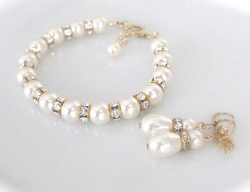 Gold and Ivory Pearl Bracelet and Earrings Bridal Jewelry Set - Clairesbridal - 1