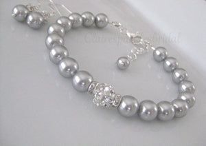 Grey Pearl Bridesmaid Jewelry Bracelet and Earrings Sets - Clairesbridal - 2