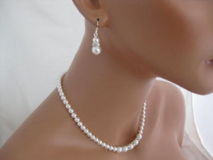 Wedding Jewelry Pearl Necklace Sets Bridal Jewelry Necklace and Earrings - Clairesbridal - 2