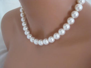 White Chunky Pearl Necklace and Earrings sets for bridesmaids - Clairesbridal - 2