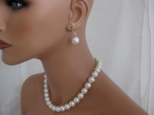 White Chunky Pearl Necklace and Earrings sets for bridesmaids - Clairesbridal - 1