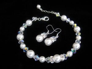 Wedding Pearl Bracelet and Earrings for Brides - Clairesbridal - 2