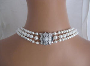 Pearl Multi Strand Necklace Silver Cubic Zirconia Clasp - Clairesbridal - 3