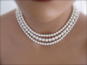 Pearl Multi Strand Necklace Silver Cubic Zirconia Clasp - Clairesbridal - 4