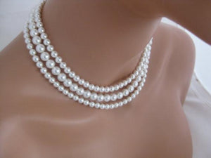 Pearl Multi Strand Necklace Silver Cubic Zirconia Clasp - Clairesbridal - 2