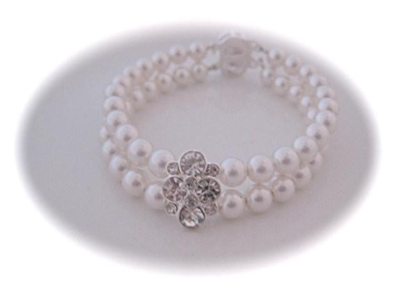 Wedding Jewelry, Pearl bracelet, Cubic zirconia Slider, Silver Filigree Clasp - Clairesbridal - 1