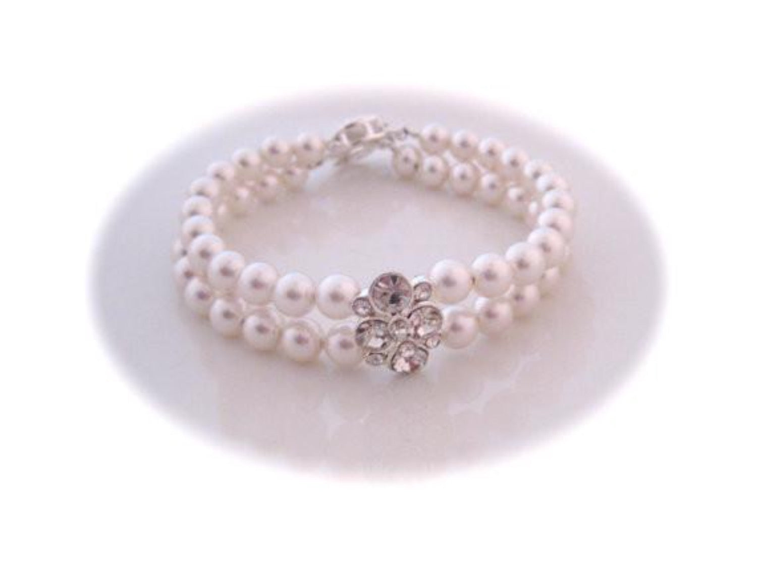 Wedding Jewelry, Pearl bracelet, Cubic zirconia Slider, Silver Filigree Clasp - Clairesbridal - 3