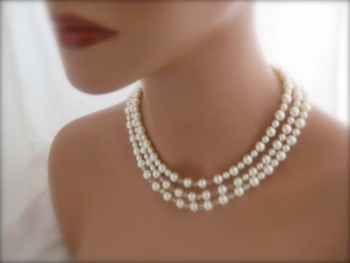 Ivory Bridal Jewelry Pearl and Crystal Necklace - Clairesbridal - 1