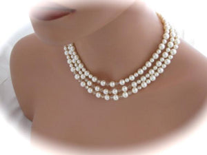 Ivory Bridal Jewelry Pearl and Crystal Necklace - Clairesbridal - 2