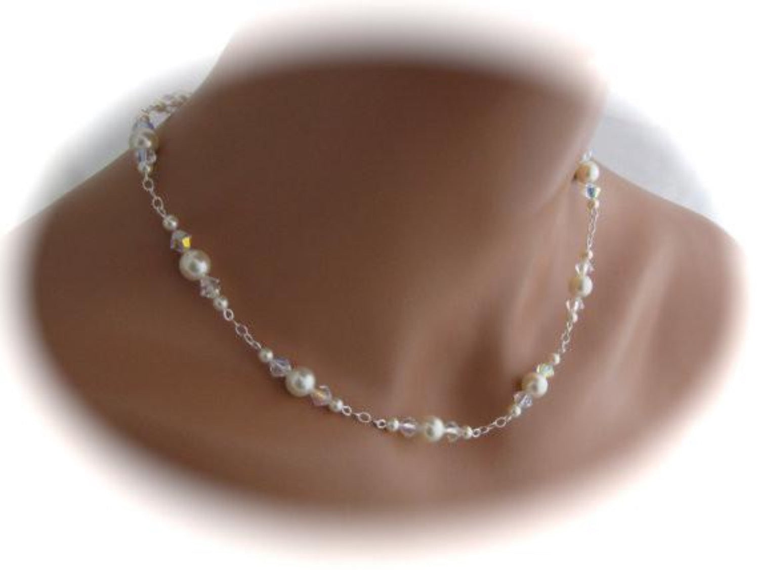 Wedding Jewelry Pearl and Crystal Necklace Bridal Jewelry - Clairesbridal - 3