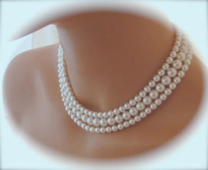 Pearl Multi Strand Necklace Silver Cubic Zirconia Clasp - Clairesbridal - 5