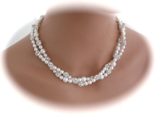 Pearl Necklace Double Strand Silver Rhinestone Earrings Bridal Jewelry - Clairesbridal - 1