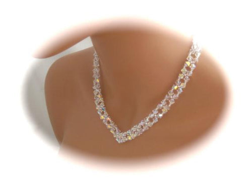 Crystal V Necklace Bridal Jewelry - Clairesbridal