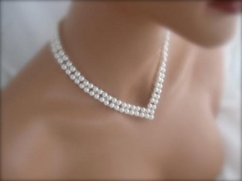 V Shaped Bridal Necklace Wedding Jewelry Pearl Necklace  - Clairesbridal - 1