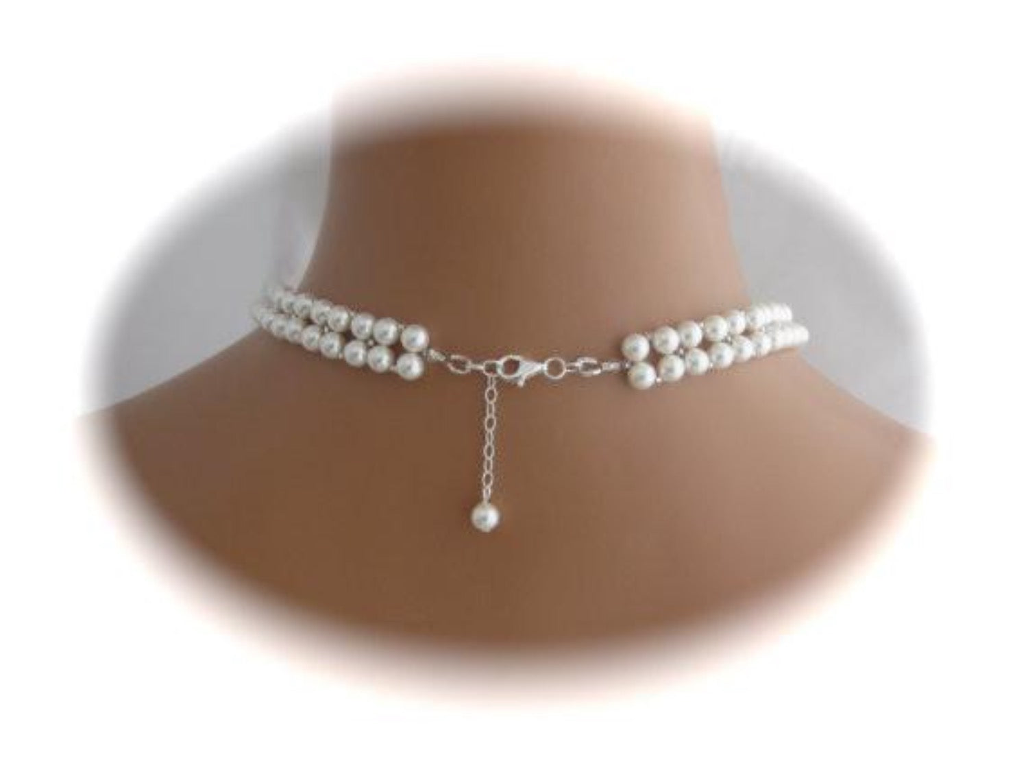 V Shaped Bridal Necklace Wedding Jewelry Pearl Necklace - Clairesbridal - 4