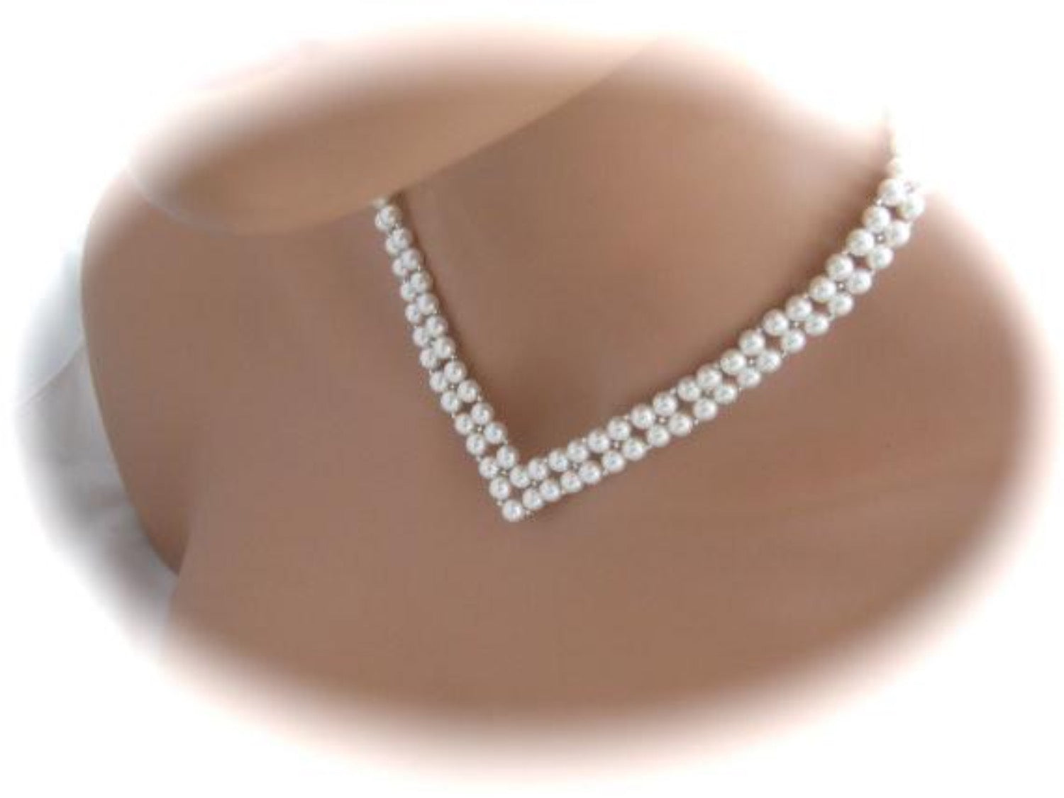 V Shaped Bridal Necklace Wedding Jewelry Pearl Necklace - Clairesbridal - 2