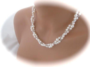 Pearl Bridal Backdrop Necklace Wedding Jewelry - Clairesbridal - 2