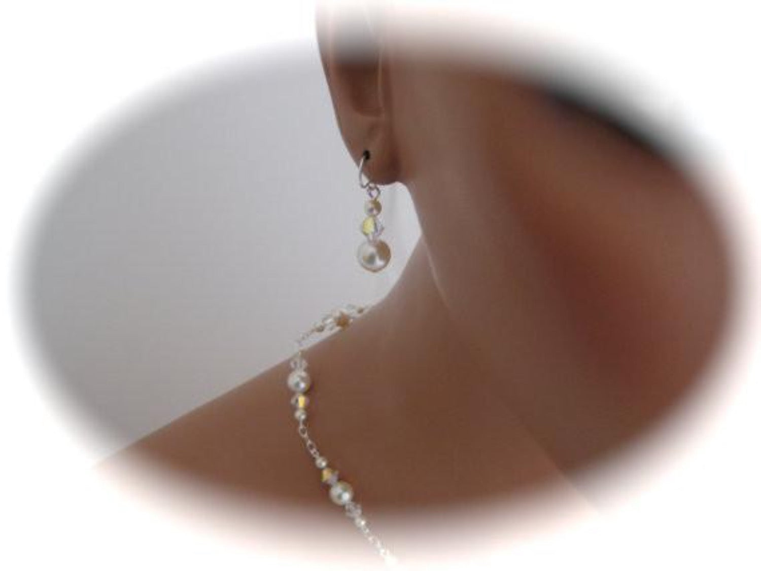 Pearl Wedding Necklace and Earrings Set Wedding Jewelry - Clairesbridal - 3