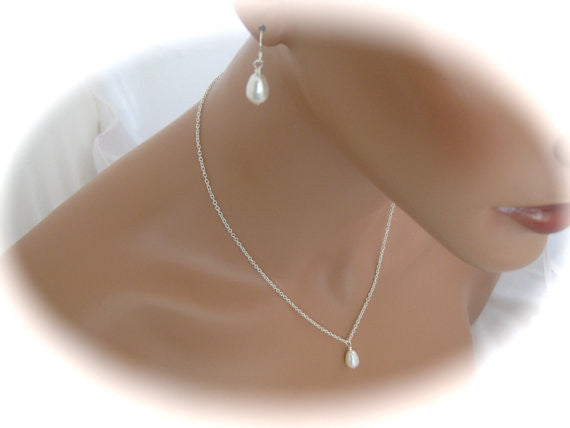 white pearl jewelry set for bridesmaids necklace and earring sets - Clairesbridal