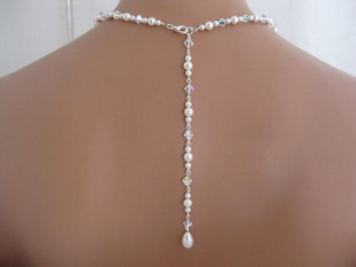 Swarovski Crystal Backdrop Necklace Bridal Jewelry - Clairesbridal - 1