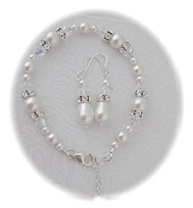 Ivory Pearl Necklace, Bracelet and Earring Set for Brides - Clairesbridal - 10