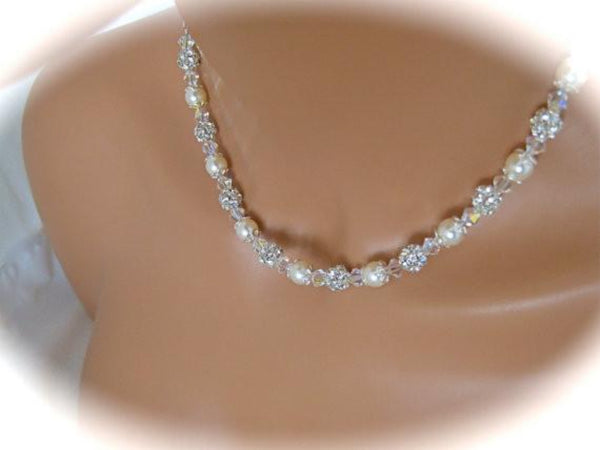 Wedding Jewelry Set Swarovski Pearl and Crystal Necklace and Earrings -  Clairesbridal - 2 12a67e94e
