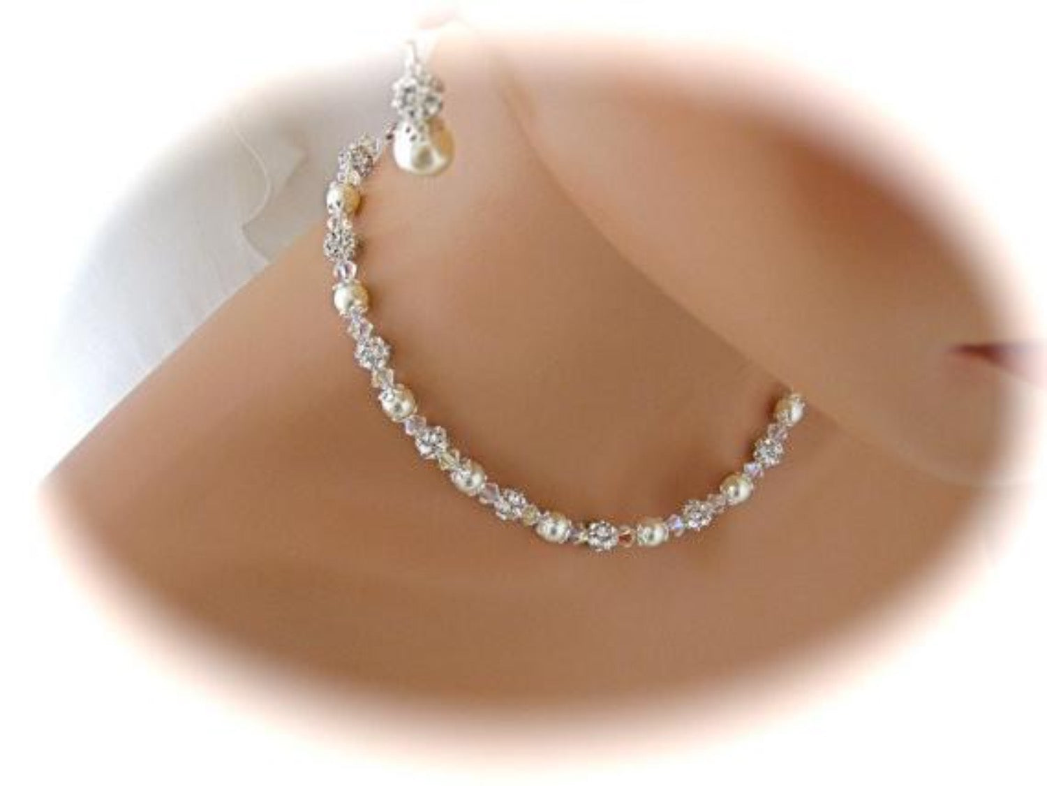 Wedding Jewelry Set Swarovski Pearl and Crystal Necklace and Earrings - Clairesbridal - 3