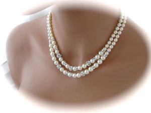 Double Strand Pearl Necklace Bridal Jewelry Sets - Clairesbridal  - 3