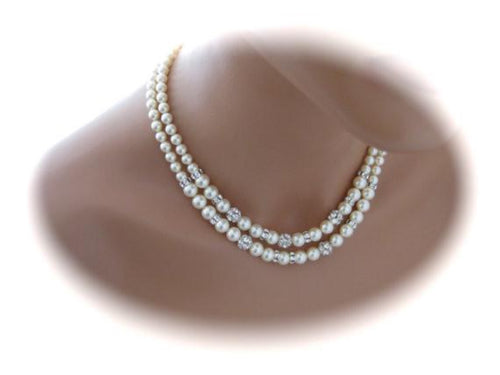 Double Strand Pearl Necklace Bridal Jewelry Sets - Clairesbridal - 1