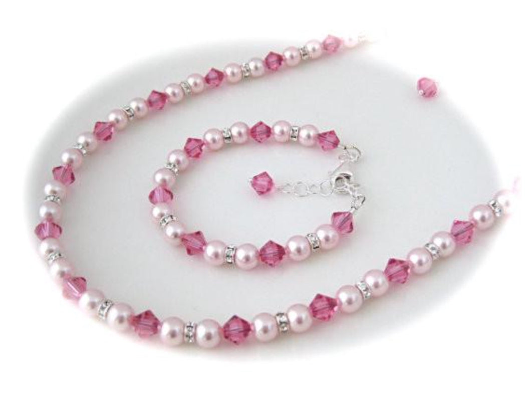 Pink Pearl Flower Girl Necklace, Bracelet and Earrings Set - Clairesbridal - 1