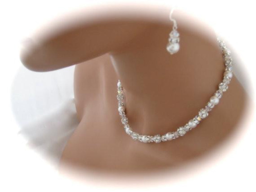 Swarovski Pearl and Rhinestone Wedding Necklace and Earrings Set - Clairesbridal