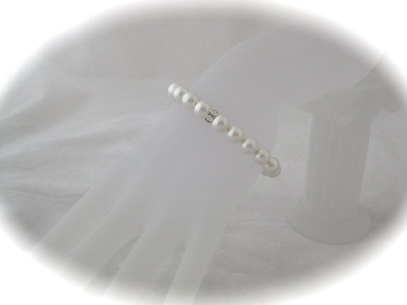 White Pearl Bridal Bracelet for Weddings - Clairesbridal - 1