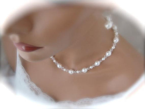 Bridal Pearl Necklace and Earring Set Wedding Jewelry Set - Clairesbridal - 1