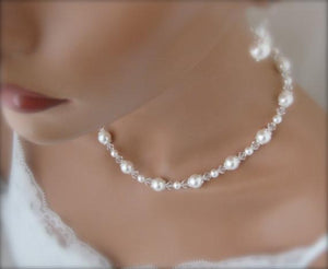 Pearl Necklace and Earring Set Wedding Jewelry Set - Clairesbridal - 3