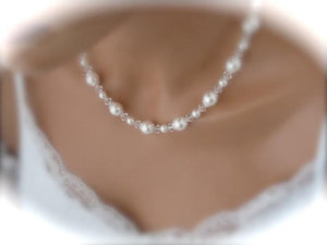 Pearl Necklace and Earring Set Wedding Jewelry Set - Clairesbridal - 4