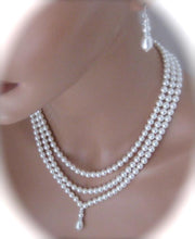 Load image into Gallery viewer, Three strand pearl necklace and earrings set bridal jewelry - Clairesbridal - 2