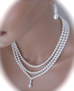Three strand pearl necklace and earrings set bridal jewelry - Clairesbridal - 2