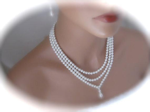 Three strand pearl necklace and earrings set bridal jewelry - Clairesbridal - 1